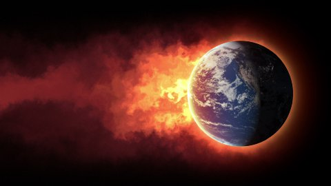Burning globe - stock footage