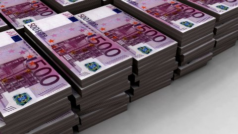 Stacks of 500 Euro (Loop) - stock footage
