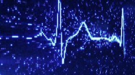 digital pixel EKG electrocardiogram pulse blue loopable background - motion graphic