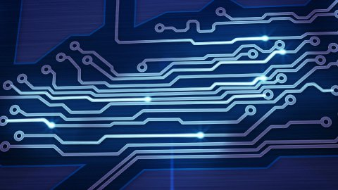 blue digital circuit board and signals pan loop - stock footage