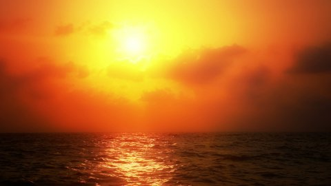 Ocean Sunset with Warm Coloration - stock footage