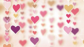 dangling pink hearts loopable background - motion graphic