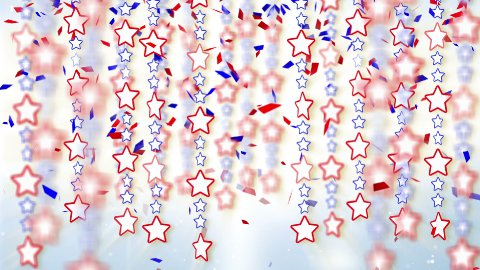 red blue stars and confetti loop background - stock footage
