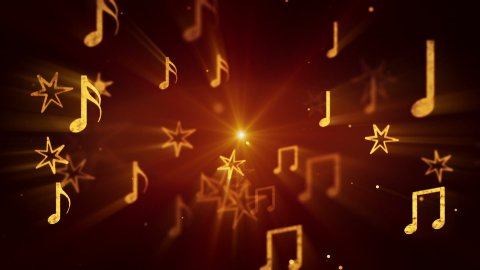 flying musical notes loopable background - stock footage