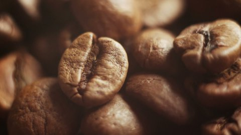 close-up sequence of roasted coffee beans - stock footage