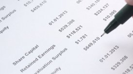 analyzing of financing statement closeup