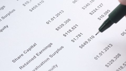 analyzing of financing statement closeup - stock footage