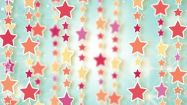dangling colorful stars loop background - motion graphic