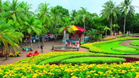 peoples walks in Nong Nooch tropical garden in Thailand - motion graphic