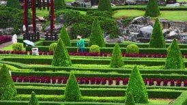 street cleaner in Nong Nooch tropical garden in Thailand - motion graphic