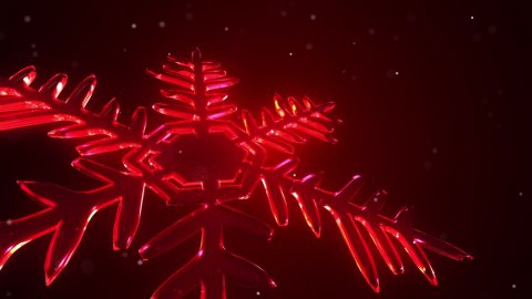 3d Snow Flake Red - stock footage