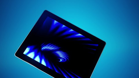 Tablet Moves Blue - stock footage