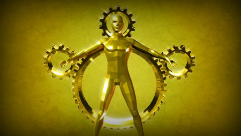 Man and Gear concept animation - stock footage