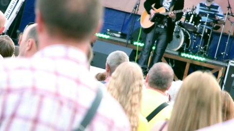 people at outdoor concert - stock footage