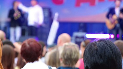 people watching concert - stock footage