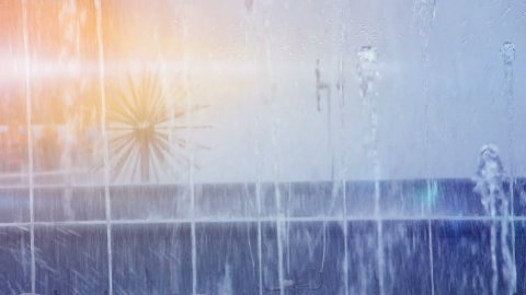 fountain in sunny day - stock footage
