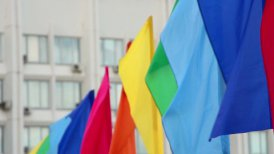 colorful flags against building