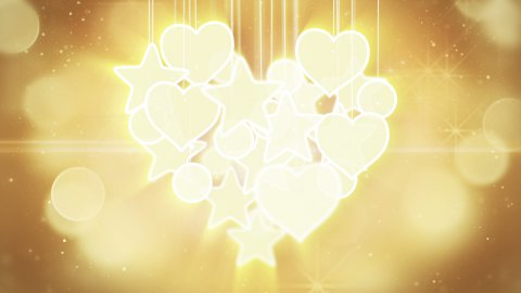 gold heart shape concept loop background luma matte - stock footage