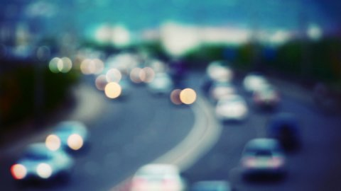 cars on road out of focus - stock footage