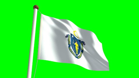 Massachusetts flag - stock footage