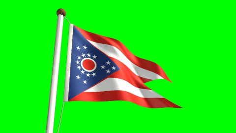 Ohio flag - stock footage