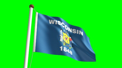 Wisconsin flag - stock footage