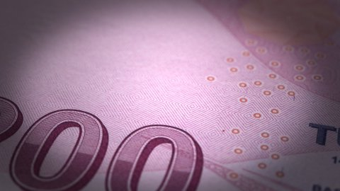 Turkish Lira Close-up - stock footage