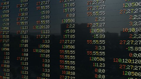 Stock market panel, tilt, static quotes - stock footage