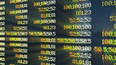 Stock Market Board, changing quotes - stock footage