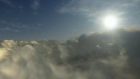 Flying above timelapse clouds