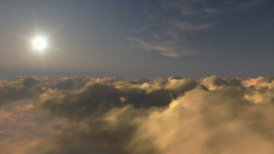 Flight above time lapse clouds at sunset