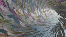 Euro currency tunnel fly through, light bloom, Alpha