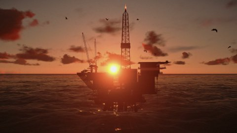 Oil Rig in ocean, beautiful timelapse sunset - stock footage