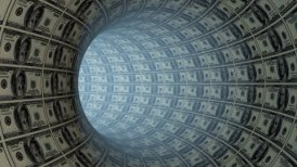100 Dollars tunnel fly through, loop - motion graphic