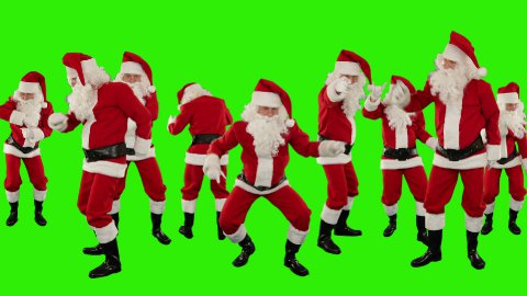 Bunch of Santa Claus Dancing, Christmas Holiday Background, Green Screen - stock footage