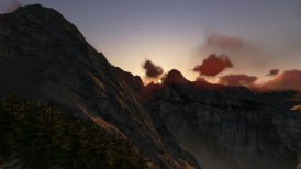 Mountain peaks at sunset, timelapse clouds - motion graphic