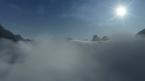 Mountain Peaks above Time Lapse Clouds - stock footage