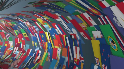 World Flags tunnel fly through with light bloom - stock footage