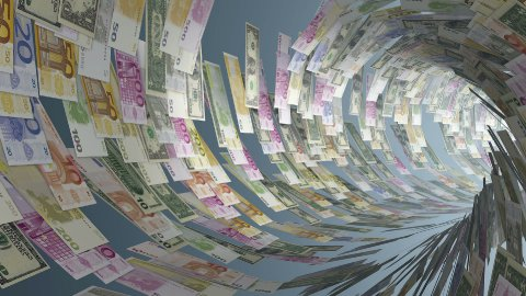 Various currencies tunnel fly through, light blooming - stock footage