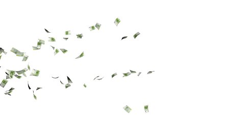 Euro Banknotes Flying Particles, against white - stock footage