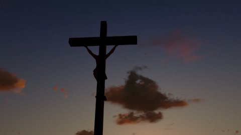 Jesus on Cross, camera fly, timelapse sunrise, night to day - stock footage