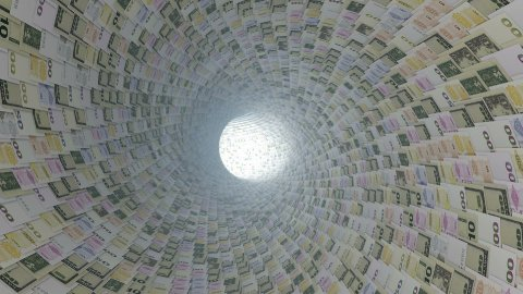 Various currencies tunnel fly through, light bloom, Alpha - stock footage