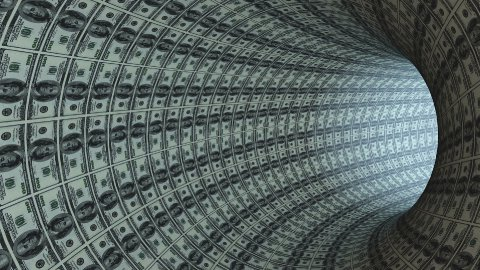 100 Dollars tunnel fly through, bloom - stock footage