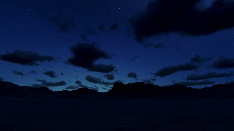 Mountain landscape at night, timelapse clouds - stock footage