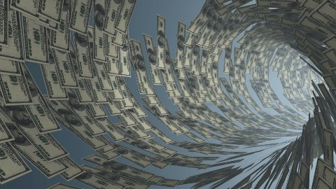 US Dollar tunnel fly through, bloom, Alpha - stock footage