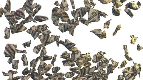 Crumpled Dollars falling, video transition - stock footage