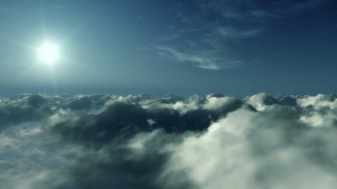 Flight above clouds at sunset - stock footage