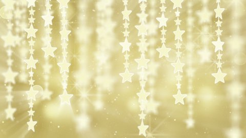 gold shiny hanging stars loop background - stock footage