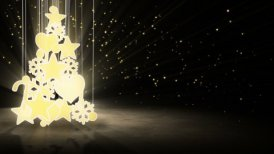 gold christmas tree decoration loop - motion graphic