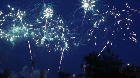 people watching fireworks - stock footage